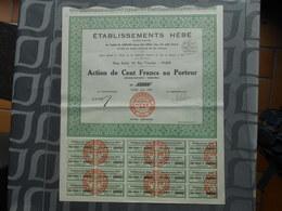 Etablissements HEBE - Action De 100 Francs Au Porteur (document Complet) - G - I