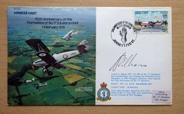 Jersey 1985 RAF Flight Cover Yt.325 Hawker Hart 70th Anniversary No.17 Squadron Signed By Pilot. - Militaria