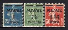 Memel (Klaipeda) 1922 Mi 85-87 * [120119XXII] - Memelgebiet