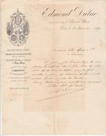 Lettre Illustrée 23/1/1890 Edmond DULAC  Liqueurs Absinthe Rue St Merri PARIS à Jarnac Charente - Francia