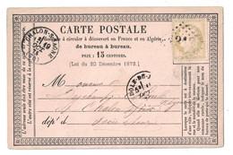1875 - CARTE POSTALE PRECURSEUR AFFRANCHIE CERES 15c OBLITERATION CAD DOLE DU JURA GC 1313 Pour CHALON - 1849-1876: Période Classique