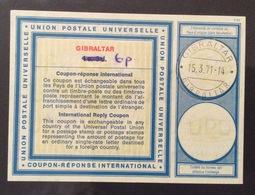 COUPON REPONSE  INTERNATIONAL GILBRALTAR GIBILTERRA  6 P / 1 S.3 D - Posta