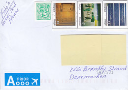 Belgium A PRIOR Avion Label 20?? Cover Lettre BRØNDBY STRAND Denmark 4x Imperf Cutouts From Stationery Ganzsache Entier? - Belgio
