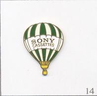 Pin's Transport - Montgolfière / Ballon Sony Cassettes - Bandes Vertes & Jaunes Vertes. Est. Sony 1989. EGF. T648-14 - Montgolfier