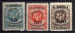Memel (Klaipeda) 1923 Mi 124; 126; 128 * [120119XXII] - Memelgebiet