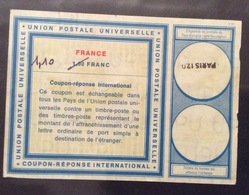 COUPON REPONSE  INTERNATIONAL  FRANCE FRANCIA 1,10/1 Franc - Posta