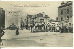 52 - CHAUMONT - FETES DU GRAND PARDON 1928 / MONUMENT DU MEMORIAL ET LA PROCESSION - Chaumont