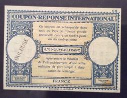 COUPON REPONSE  INTERNATIONAL  FRANCE FRANCIA  0,70 Nuovi Nouveau  Franc - Posta