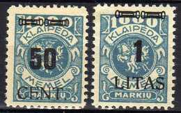 Memel / Klaipeda 1923 Mi 191-192 * [120119XXII] - Memelgebiet