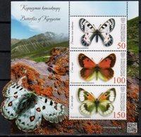 KYRGYZSTAN, 2018, MNH, EXPRESS POST, BUTTERFLIES, MOUNTAINS,   SHEETLET - Schmetterlinge