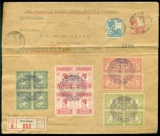 """Nederlandsch Indie 1927 Aangetekende Luchtpost Envelop Van Soerabaia Via Batavia Naar Amsterdam Met Vliegtuig """"Koppen"""" - Indes Néerlandaises"""