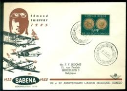 Belgisch Congo 1955 Speciale Envelop 20e En 30e Verjaardag Verbinding Met Belgie En Edmond Thieffry - 1947-60: Covers