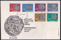 Yugoslavia, 1966, Art, Mediedal Coins , Complete Set On FDC - Münzen