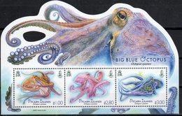 PITCAIRN ISLAND ,2018, MNH,MARINE LIFE, OCTOPUS, BIG BLUE OCTOPUS,  SHEETLET - Marine Life