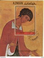 Ajman 1972 Bf. 463A Icona Russa Russian Paintings Of Saints Sheet Perf. Nuovo CTO. - Ajman