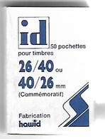 50 Pochettes Pour Timbres 26/40 Ou 40/26 Mm  Fabrication Hawid - Stamps