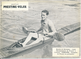 AVIRON - Suresnes, 1932, Verdier, Champion De France En Périssoire- Publicité  Prestine Velox - Sport