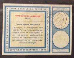 COUPON REPONSE  INTERNATIONAL  LUSSEMBURGO 8 FR. - Posta