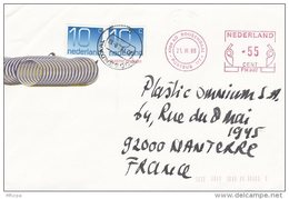 L4G102 PAYS BAS Lettre EMA Roosendaal Pour Levallois Perret France 21 08 1988  Affr EMA  0,55 + 2 X 10c - Affrancature Meccaniche Rosse (EMA)