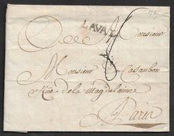 1765 - LAC MAYENNE - LAVAL (24mm X 4mm) -  A PARIS - 1701-1800: Précurseurs XVIII