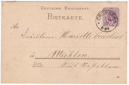 # 9314 Germany, Cronberg Postal Stationary Postcard Mailed To Miehlen 1889 - Germany