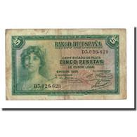 Billet, Espagne, 5 Pesetas, 1935, KM:85a, TB - [ 2] 1931-1936 : Republiek