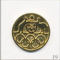 Pin's Jeux Olympiques / Comité Olympique D'Australie Avec Kangourou & Emeu. Non Est. Métal Doré. T649-19 - Olympic Games