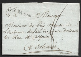 1789 - LAC - DU MANS 33mm X 5mm (SARTHE) - A ORLEANS - Marcophilie (Lettres)