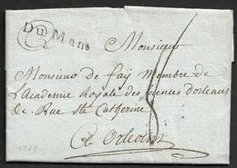 1789 - LAC - DU MANS 33mm X 5mm (SARTHE) - A ORLEANS - Poststempel (Briefe)
