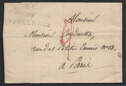 1824 - LAC - Cursive 60 CHAMPIGNY VINCENNES (SEINE) - Poststempel (Briefe)