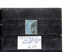 ITALY 1877 - VITTORIO AZZURRO  10 CENTESIMI  ROSSO USATO (Bolaffi 79) ALBVEC ITA 10AZR - Usati