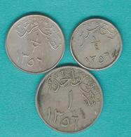 1356 (1937) - Abd Al-Azīz - ¼ Qirsh (KM19); ½ Qirsh (KM20) & 1 Qirsh (KM21) - Arabie Saoudite