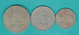 1 Qirsh - AH1376 (1957) KM40; 2 Qirsh - AH1379 (1960) KM41 & 4 Qirsh - AH1376 (1957) KM42 - Saudi Arabia