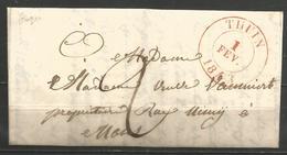 (D155) Lettre De THUIN Du 1/2/1843 Vers Mons - 1830-1849 (Belgique Indépendante)