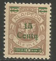 Klaipeda (Memel) - 1923 Arms Centu Surcharge 15c/10m  MH *    Mi 206 - Memel (1920-1924)