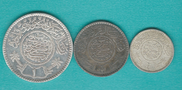 AH1356 - 1935 - ¼ Riyal (KM17); ½ Riyal (KM18) & 1 Riyal (KM19) - Arabie Saoudite