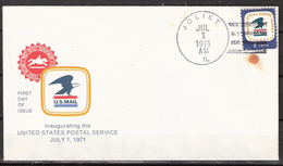 USA 1971 Cover With Inaugurating The United States Postal Service, Cancelled New Lenox, IL July 1st 1971  FDC - United States