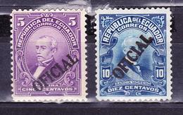 ECUADOR 1916-1917 OFFICIAL SERVICE SURCHARGED ON PRESIDENTS URBINA & GARCIA MORENO MNH/MH SC# O132-O134 - Equateur