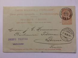 BELGIUM 1895 Pre-paid Postcard Verviers To Fesenau Bern With Joseph Peintre Cachet - 1893-1900 Barba Corta