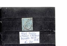 ITALY 1865 - VITTORIO FERRO DI CAVALLO  CELESTE  20 CENTESIMI   USATO (Bolaffi 77B) ALBVEC ITA 20CEL - 1861-78 Vittorio Emanuele II
