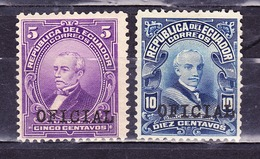 ECUADOR 1924 OFFICIAL SERVICE SURCHARGED ON PRESIDENTS URBINA & GARCIA MORENO MNH/MH SC# O164-O165 - Ecuador