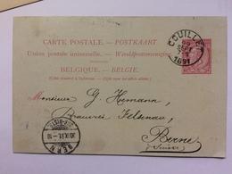 BELGIUM 1891 Pre-paid Postcard Couillet To Berne Switzerland - Coal Merchants - 2 Scans - 1893-1900 Thin Beard
