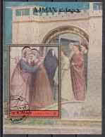 "Ajman 1972 Bf. 479B ""Vita Di Maria :..Anna..Gioacchino..Oro"" Affresco Dipinto Giotto Bondone Paintings Sheet Perf. CTO - Quadri"