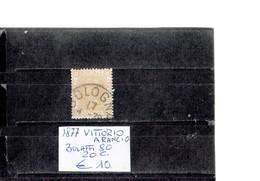 ITALY 1877 - VITTORIO ARANCIO  20 CENTESIMI   USATO (Bolaffi 80) ALBVEC ITA 20ARAN - 1861-78 Vittorio Emanuele II