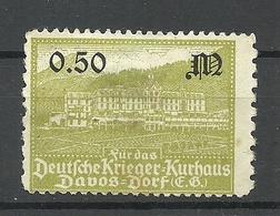Germany Ca 1900 Deutsche Krieger-Kurhaus Davos - Dorf Vignette Spendemarke (*) - Erinnophilie