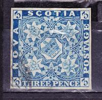 NOVA SCOTIA 1851-1853 THREE PENCE BLUE USED PERFECT CONDITION SC# 2 - Oblitérés