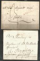 (D163) 2 Lettres De BRUXELLES (94 BRUXELLES En Rouge) Vers Brugelette (1797) Et Gand (1813) - 1794-1814 (Période Française)
