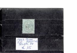 ITALY 1863 - SERIE PRIMA DEFINITIVA  5 CENTESIMI   USATO (Bolaffi 70) ALBVEC ITA 5VER - Usati