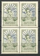 Germany Ca 1910 Gebt Den Kindern Kein Alkohol Vignette Propagandamarke Als 4-Block MNH - Vignetten (Erinnophilie)