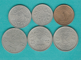 AH1383 (1963) 1 Halalah (KM44); AH1392 (1972) - 5 Halalah (KM45); 10 Halalah (KM46); 25 Halalah (KMs47, 48) AH1392 (1973 - Arabie Saoudite